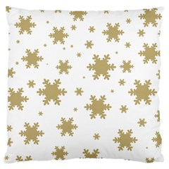 Gold Snow Flakes Snow Flake Pattern Large Cushion Case (two Sides) by Onesevenart