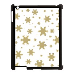 Gold Snow Flakes Snow Flake Pattern Apple Ipad 3/4 Case (black) by Onesevenart