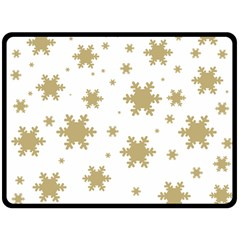 Gold Snow Flakes Snow Flake Pattern Double Sided Fleece Blanket (large)  by Onesevenart