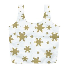 Gold Snow Flakes Snow Flake Pattern Full Print Recycle Bags (l)  by Onesevenart