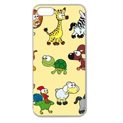 Group Of Animals Graphic Apple Seamless Iphone 5 Case (clear) by Onesevenart