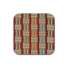 Fabric Pattern Rubber Square Coaster (4 Pack)  by Onesevenart