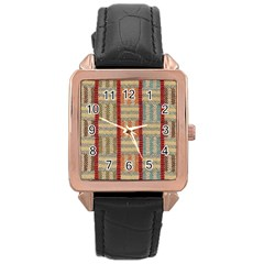 Fabric Pattern Rose Gold Leather Watch  by Onesevenart