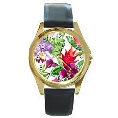 Vector Pattern Tropical Round Gold Metal Watch by Onesevenart