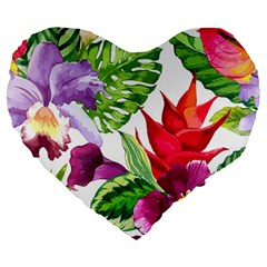 Vector Pattern Tropical Large 19  Premium Heart Shape Cushions by Onesevenart