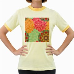 Art Abstract Pattern Women s Fitted Ringer T Shirts by Onesevenart