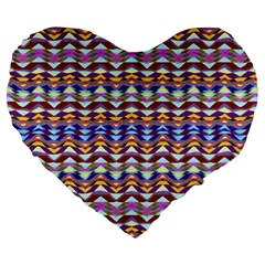 Ethnic Colorful Pattern Large 19  Premium Flano Heart Shape Cushions by dflcprints