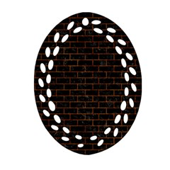 Brick1 Black Marble & Brown Marble (r) Oval Filigree Ornament (two Sides) by trendistuff