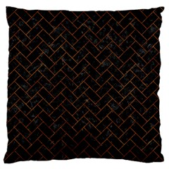 Brick2 Black Marble & Brown Marble (r) Large Flano Cushion Case (two Sides) by trendistuff