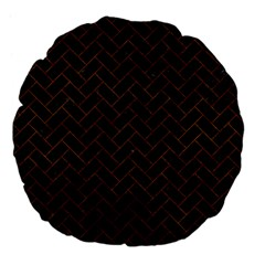 Brick2 Black Marble & Brown Marble (r) Large 18  Premium Flano Round Cushion  by trendistuff