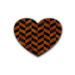 Chevron1 Black Marble & Brown Marble Rubber Heart Coaster (4 Pack) by trendistuff