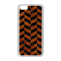 Chevron1 Black Marble & Brown Marble Apple Iphone 5c Seamless Case (white) by trendistuff