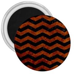 Chevron3 Black Marble & Brown Marble 3  Magnet by trendistuff