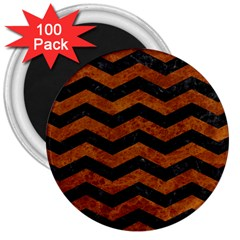 Chevron3 Black Marble & Brown Marble 3  Magnet (100 Pack) by trendistuff