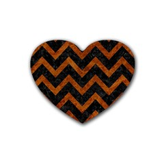 Chevron9 Black Marble & Brown Marble Rubber Heart Coaster (4 Pack) by trendistuff