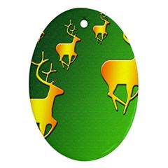 Gold Reindeer Ornament (Oval)  by Zeze