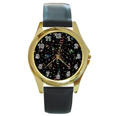 Christmas Decorative Pattern Vector Round Gold Metal Watch by Onesevenart