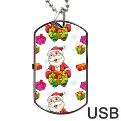 Xmas Patterns  Dog Tag Usb Flash (one Side) by Onesevenart