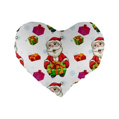 Xmas Patterns  Standard 16  Premium Flano Heart Shape Cushions by Onesevenart
