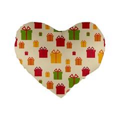 Christmas Gift Box Vector Seamless Pattern Vector Standard 16  Premium Heart Shape Cushions by Onesevenart