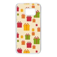 Christmas Gift Box Vector Seamless Pattern Vector Samsung Galaxy S7 White Seamless Case