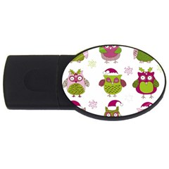 Cartoon Christmas Owl Cute Vector Usb Flash Drive Oval (2 Gb)  by Onesevenart