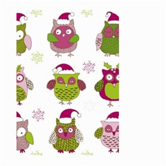 Cartoon Christmas Owl Cute Vector Large Garden Flag (two Sides) by Onesevenart