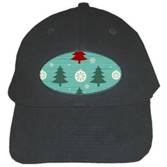 Christmas Tree With Snow Seamless Pattern Vector Black Cap by Onesevenart