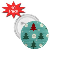 Christmas Tree With Snow Seamless Pattern Vector 1 75  Buttons (10 Pack) by Onesevenart