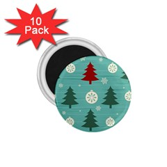 Christmas Tree With Snow Seamless Pattern Vector 1 75  Magnets (10 Pack)  by Onesevenart