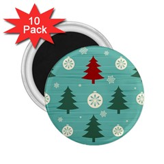 Christmas Tree With Snow Seamless Pattern Vector 2 25  Magnets (10 Pack)  by Onesevenart