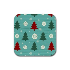 Christmas Tree With Snow Seamless Pattern Vector Rubber Square Coaster (4 Pack)  by Onesevenart