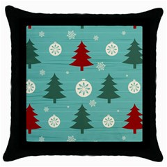 Christmas Tree With Snow Seamless Pattern Vector Throw Pillow Case (black) by Onesevenart