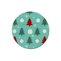 Christmas Tree With Snow Seamless Pattern Vector Magnet 3  (round) by Onesevenart