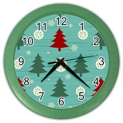 Christmas Tree With Snow Seamless Pattern Vector Color Wall Clocks by Onesevenart