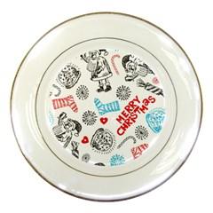 Christmas Doodle Pattern Porcelain Plates by Onesevenart
