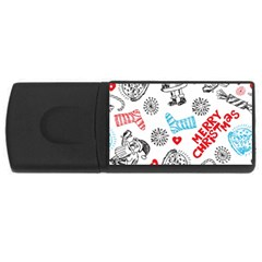 Christmas Doodle Pattern Usb Flash Drive Rectangular (4 Gb)  by Onesevenart