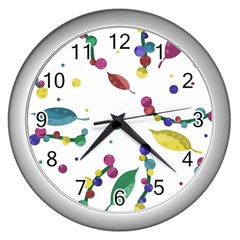 Abstract Floral Design Wall Clocks (silver)  by Valentinaart