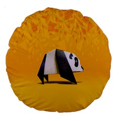 Cute Panda Large 18  Premium Round Cushions by AnjaniArt