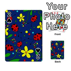Ladybugs   Blue Playing Cards 54 Designs  by Valentinaart