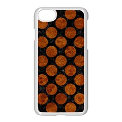 Circles2 Black Marble & Brown Marble Apple Iphone 7 Seamless Case (white) by trendistuff