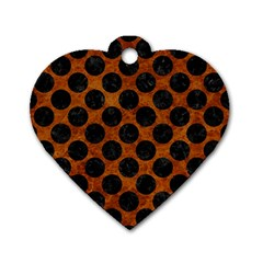Circles2 Black Marble & Brown Marble (r) Dog Tag Heart (one Side) by trendistuff