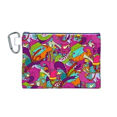 Christmas Elements With Doodle Seamless Pattern Vector Canvas Cosmetic Bag (M) by Onesevenart
