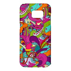 Christmas Elements With Doodle Seamless Pattern Vector Samsung Galaxy S7 Edge Hardshell Case by Onesevenart