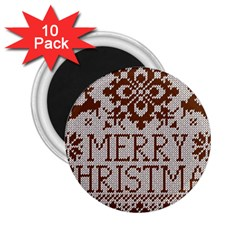 Christmas Elements With Knitted Pattern Vector 2 25  Magnets (10 Pack)  by Onesevenart