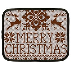 Christmas Elements With Knitted Pattern Vector Netbook Case (xl)  by Onesevenart