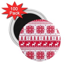 Christmas Patterns 2 25  Magnets (100 Pack)  by Onesevenart