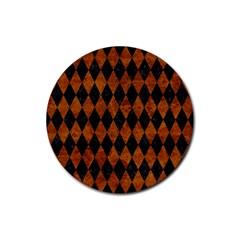 Diamond1 Black Marble & Brown Marble Rubber Coaster (round) by trendistuff