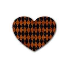 Diamond1 Black Marble & Brown Marble Rubber Heart Coaster (4 Pack) by trendistuff