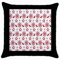 Christmas Pattern  Throw Pillow Case (black) by Onesevenart